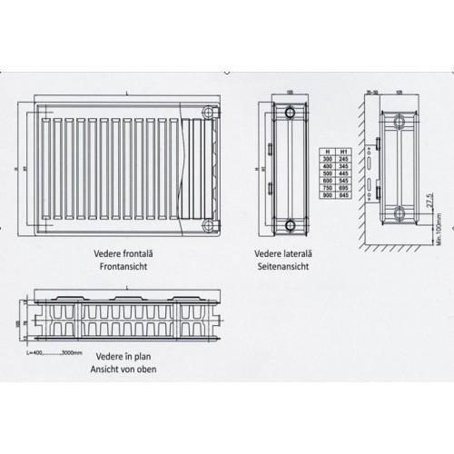 Radiatoare (Calorifere) konveks 22-600/1100
